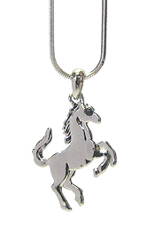 WHITEGOLD PLATING SIMPLE HORSE PENDANT NECKLACE