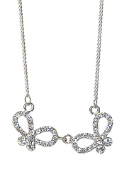 WHITEGOLD PLATING CRYSTAL STUD DUAL BUTTERFLY LINK NECKLACE