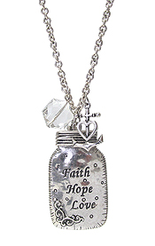 RELIGIOUS INSPIRATION JAR PENDANT LONG NECKLACE - FAITH HOPE LOVE