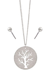 SCRATCH BRASS METAL TREE OF LIFE NECKLACE SET