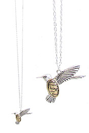 INSPIRATION MESSAGE BIRD PENDANT LONG NECKLACE - WITH BRAVE WINGS SHE FLIES