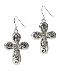 TEXTURED CRYSTAL CROSS EARRING