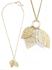 MULTI LEAF DANGLE LONG NECKLACE