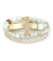 MULTI STONE AND CROSS 3 STRETCH BRACELET SET