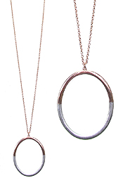 TWO TONE METAL HOOP PENDANT LONG NECKLACE