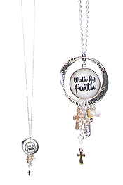 RELIGIOUS INSPIRATION CABOCHON PENDANT LONG NECKLACE - WALK BY FAITH
