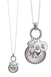 RELIGIOUS INSPIRATION CABOCHON AND MULTI CHARM PENDANT NECKLACE - JOHN 3:16