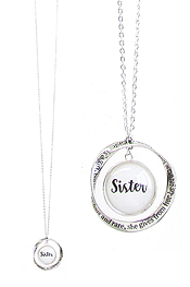 INSPIRATION MESSAGE CABOCHON AND TWIST RING PENDANT LONG NECKLACE - SISTER