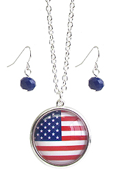 PATRIOTIC AMERICAN FLAG CABOCHON PENDANT NECKLACE SET
