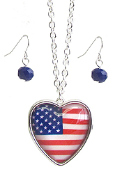 PATRIOTIC AMERICAN FLAG CABOCHON HEART PENDANT NECKLACE SET