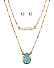 PEARL AND TEARDROP DRUZY DOUBLE LAYER NECKLACE SET