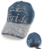 RHINESTONE WORN DENIM CAP - BRIDE TO BE