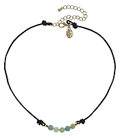 GENUINE STONE AND LEATHER CORD CHOKER NECKLACE