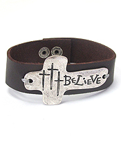 RELIGIOUS INSPIRATION CROSS AND LEATHERETTE BAND BRACELET - BELIEVE