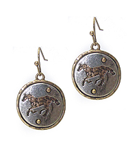 ANTIQUE SILVER HORSE THEME DISK DROP EARRING