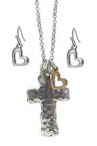 RELIGIOUS INSPIRATION CROSS NECKLACE SET - JOHN 3:16