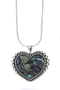 ABALONE STONE HEART PENDANT NECKLACE