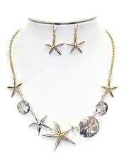 STARFISH AND SAND DOLLAR PENDANT MIX NECKLACE SET