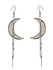 CRESCENT MOON AND CHAIN TASSEL EARRING