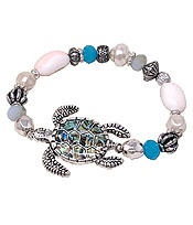 MULTI BEAD MIX STRETCH BRACELET - TURTLE