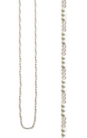 FACET STONE AND PEARL MIX LONG NECKLACE