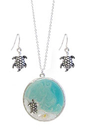 SEALIFE THEME EPOXY PENDANT NECKLACE SET - TURTLE