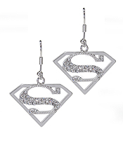 WHITEGOLD PLATING CRYSTAL SUPERMAN SYMBOL DROP EARRING