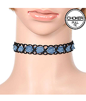 DENIM AND LEATHERETTE OPEN CUT WOVEN PULL TIE CHOKER NECKLACE