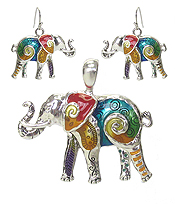 ELEPHANT PENDANT AND EARRING SET