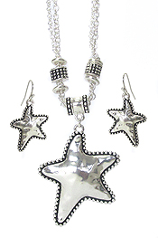 HAMMERED METAL STARFISH NECKLACE SET