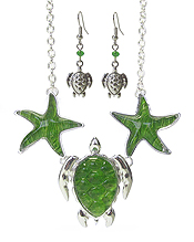 SEALIFE THEME TEXTURED PUFFY PENDANT LINK NECKLACE SET - TURTLE STARFISH