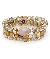DRUZY AND MULTI GLASS BEAD MIX 3 STRETCH BRACELET SET