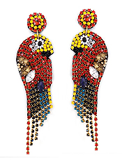 HANDMADE MULTI SEED BEAD AND CRYSTAL TROPICAL BIRD EARRING - PARROT
