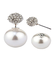 CRYSTAL FIREBALL AND PEARL DOUBLE SIDED FRONT AND BACK EARRINGS