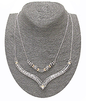 DOUBLE LAYERED CHAIN TEXTURED METAL DROP NECKLACE