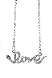 WHITEGOLD PLATING CRYSTAL DECO SNAKE LOVE PENDANT NECKLACE