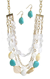 PEARL AND TORQUOISE MIX THREE LAYER NECKLACE SET