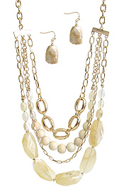 PEARL AND MIX STONE FOUR LAYER NECKLACE SET
