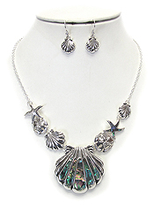 ABALONE SHELL AND STARFISH NECKLACE SET