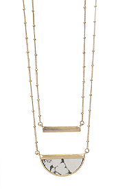 DOUBLE LAYER METAL BAR AND STONE NECKLACE
