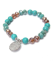 MULTI SEMI PRECIOUS STONE AND GALSS BEAD MIX STRETCH BRACELET - METAL DISC