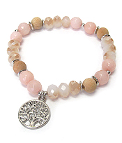 MULTI SEMI PRECIOUS STONE AND GALSS BEAD MIX STRETCH BRACELET - TREE OF LIFE