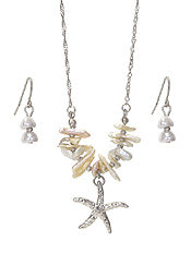 SHELL BEAD STARFISH PENDANT NECKLACE SET