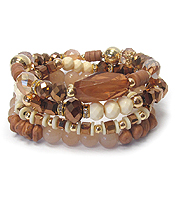 CRYSTAL RONDELLE AND MULTI BEAD MIX QUATRO STRETCH BRACELET