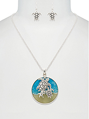 SEALIFE THEME PENDANT NECKLACE SET - TURTLE