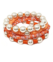 MULTI SEEDBEAD AND PEARL MIX STRETCH BRACELET SET