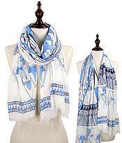 ETHNIC PATTERN OBLONG SCARF - 100% POLYESTER