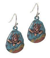 VINTAGE RUSTIC METAL TEARDROP EARRING - SEALIFE - TURTLE