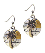 VINTAGE RUSTIC METAL DISC DROP EARRING - PALM TREE