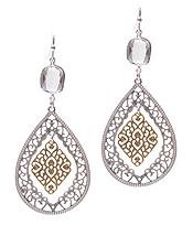 METAL FILIGREE TEARDROP EARRING